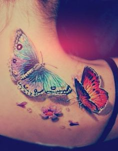 3D, Tattoo, Art, Butterfly, colorful