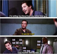 I love this show.Brooklyn I love this show. Brooklyn Nine Nine Funny, Brooklyn 9 9, Best Tv Shows, Movies And Tv Shows, Hunger Games, Detective, Jake Peralta, Memes, Andy Samberg