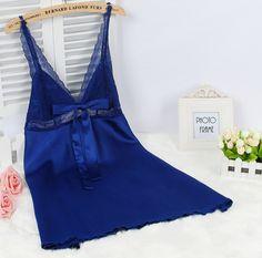 Ladies Sexy Silk Satin Nightgown Lace Nightdress Sleeveless Nighties V-neck Night dress Summer Sleep Dress Nightwear For Women