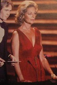 Lauren Bacall's wearing a Fortuny dress c. 1928 at the 1978 Academy Awards.