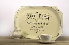 Create this project with Americana Decor® Chalky Finish — A stenciled, distressed wooden tray takes on a Parisian air with Americana® Decor™ Chalky Finish.