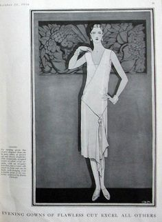 Madeleine Vionnet gown, illustrated for Vogue 15 October 1926