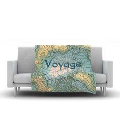 "Catherine Holcombe ""Voyage"" Teal Map Fleece Throw Blanket"