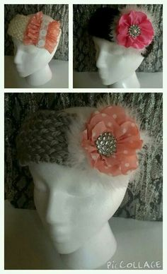 Knit ear warmers with flowers- for ages 0-12- made by Becky Davino of Little Red Wagon Creations.