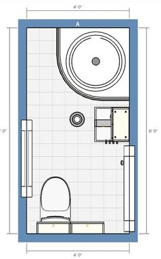 4x8 bathroom with stall shower 2D floor plan | Bathrooms ...