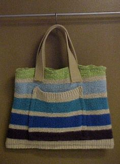 Homemade bag out of a sweater that you don't wear anymore.
