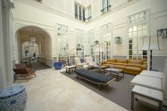 The palacio's original courtyard is now the Only You covered lobby. Courtesy of Ayre Hoteles
