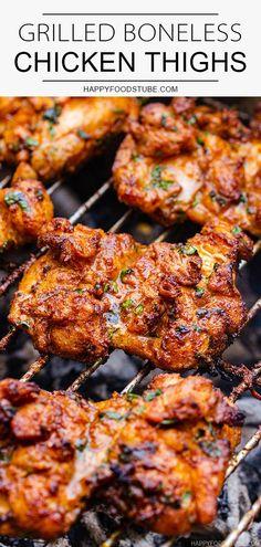 Chicken Thigh Recipes, Grilled Chicken Recipes, Chicken Bar, Baked Chicken, Grilling Chicken, Oven Chicken, Recipe Chicken, Chicken Thighs On Grill Recipe, Healthy Chicken