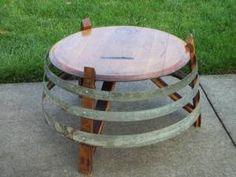 Wine barrel table