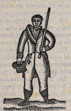 Hombre con espada y sombrero en una mano.