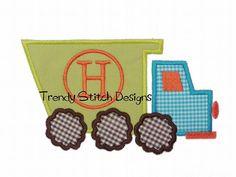 Dump Truck Applique Design Machine Embroidery Design Dumptruck monogram by TrendyStitchDesigns, $3.99 USD