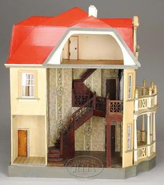 Dream Dollhouses: Interesting collection on eBay (Gottschalk Dolls House, left side opening - love the staircase!)