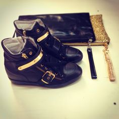 Sneakers and clutch!