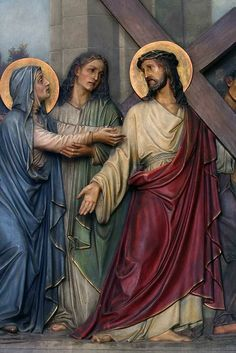 Stations of the Cross - Franciscan Friars of the Atonement Catholic Religion, Catholic Art, Religious Art, Catholic Prayers, Pictures Of Jesus Christ, Religious Pictures, Mary Magdalene And Jesus, Jesus Christ Painting, Our Lady Of Sorrows