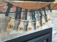 Thirsty Thirty Beer Bottle Party Banner by Pressedpaper on Etsy Man 30th Birthday Ideas, Husband 30th Birthday, Beer Birthday Party, Surprise 30th Birthday, Thirty Birthday, 30th Birthday Parties, Man Birthday, Birthday Recipes, Birthday Message