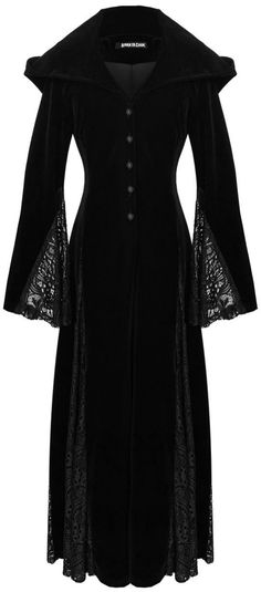 black velvet *hooded* gown