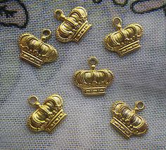 Tiny Imperial Crown Charms Brass 16x11mm 6 Pieces