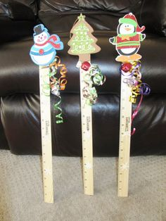 "Snow Measuring Stick - made from 18"" ruler, foam ornaments, jingle bell and ribbon.  Kids loved them."