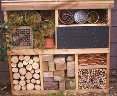 bug hotel?  yes.... I'd love to modify this into a project to teach kids about the importance of diverse ecosystems.