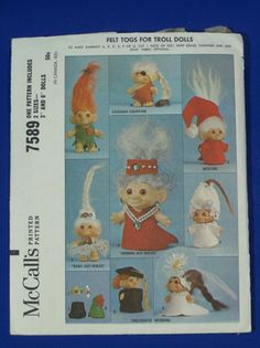 """Troll Doll  McCalls Patterns Clothes Felt Togs for 3"""" and 6""""  #7589   Vintage  #McCalls #TrollDolls"""