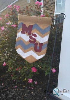 Georgia and daughter: DIY Burlap Flag for Mississippi State University (MSU) Bulldogs