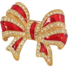 Vintage Holiday Red Christmas Bow with rhinestones Brooch/Pin Very Nice! - found at www.rubylane.com @rubylanecom
