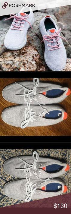 "NEW 11 AllBirds Runners Gray Mens Limited Edition NEW (without box or tag) AllBirds in men's light GRAY with orange tabs wool runners sneakers size 11.  Orange tabs were a 2017 collaboration of San Francisco businesses ""Smitten"" & AllBirds. These were Limited Edition, are sold out & RARE.  Shoelaces that come with the shoes are LIGHT GRAY as seen in the latter pictures; not the orange ones in the first picture (specialty laces may be ordered off theAllBirds website). AllBirds suggests sizing…"