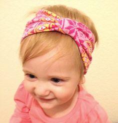 Jersey Knit  Baby Girl Turban Headband - Adult Headand - gray - white - polkadot - stripes - jersey knit - bow - tie knot - stretchy on Etsy, $8.95