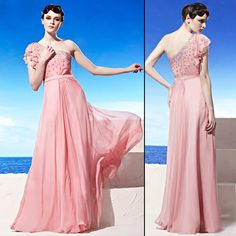 Beautiful Pink One Shoulder Evening Ball Gowns Prom Dresses with Sleeves SKU-122176