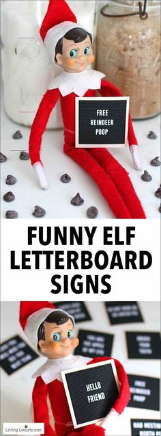 Elf Letter Board Signs - Elf Ideas Printables - Living Locurto - #elfontheshelfideasfunnyhilarious - Printable Elf Letter Board Signs to help your Christmas elf communicate with kids! Elf printables for days of hilarious ideas for the Elf on the Shelf....