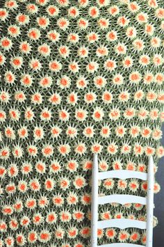 Vintage Handmade Daisy Afghan Blanket  Crocheted on Etsy, $52.00