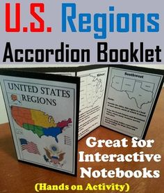 This booklet is a fun hands on activity for students to use in their interactive notebooks. Students may research or show what they have learned by writing different facts on the provided blank lines about each region of the United States. Us Geography, Geography Activities, Teaching Geography, Hands On Activities, 3rd Grade Social Studies, Teaching Social Studies, Teaching Tools, Teaching Ideas, Geography Interactive Notebook
