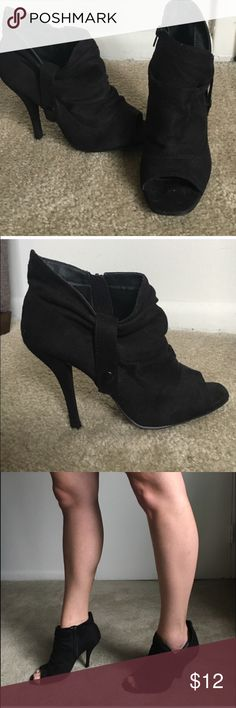 Black open toe booties- closet staple Very very comfortable! Slightly worn. Shoes Ankle Boots & Booties
