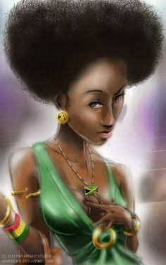 Jamaican Girl soft looking painting