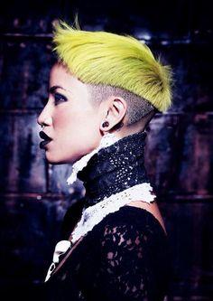 neon yellow/lime hair