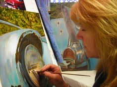 Artist, Debb Bates: This is an Oil Painting of a 57 chevy she's working on, and also, in the background, you'll notice the tail light of the same car. Pencil Drawings, Art Drawings, Tail Light, Art Tips, Art Forms, Chevy, Charcoal, Street Art, Tutorials