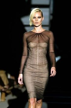 c6d36f328 Kate Moss $6995 Details about That GUCCI TOM FORD Tulle Covered NUDE Corset  Dress KATE Wore