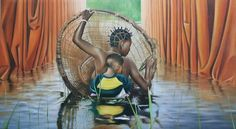 Lusaka - Zambia: Here is a collection of painting by Zambian artist Caleb Chisha. Afro Art, Native Art, African Art, Art World, Tours, Artist, Paintings, Paint, Africa Art
