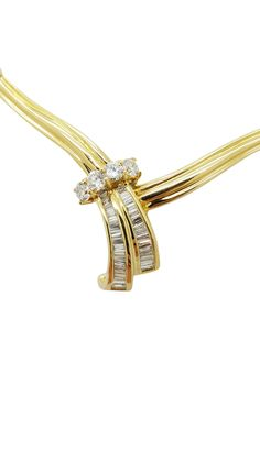 18K Yellow Gold SNAKE STYLE  1.00 ct DIAMOND PRONG/ CHANNEL necklace-pendant