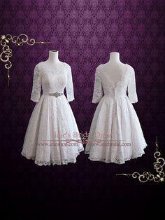 Size 6 Ready to Ship Retro Tea Length Lace Wedding Dress  by ieie