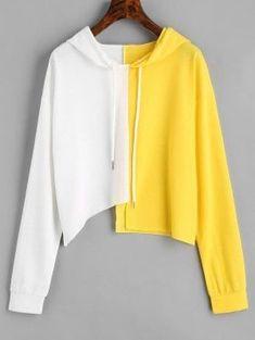 Two Tone Drawstring Asymmetric Hoodie - White And Yellow S #fashionhoodieswomens
