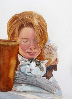 Jane Freeman Girl with Cat Watercolor Watercolor Cat, Watercolor Portraits, Cat Lady, Mixed Media Art, Art For Kids, Sculptures, Artsy, Princess Zelda, Illusions