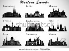 Western Europe Cities skylines set. Vector silhouettes