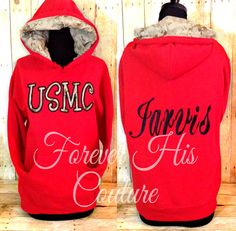 Repin if you love a Marine!. Cursive font style with black thread on a red pullover, it Came together so nicely. :)   Official USMC Hobbyist License #31406