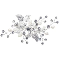 Ivory & Co. Orchid Small Flower Crystal and Freshwater Pearl Hair... (804.225 IDR) ❤ liked on Polyvore featuring accessories, hair accessories, flowers, crystal hair accessories, crystal flower hair accessories, flower hair accessories, floral hair accessories and leaf hair accessories