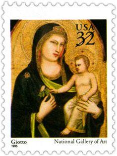Giotto di Bondone (ca.1266-1337) ~ 1995 religious U.S.Christmas stamp ~ Madonna…