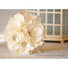 Elegant magnolia blossoms, by M.aria's handmade fabric bridal bouquets