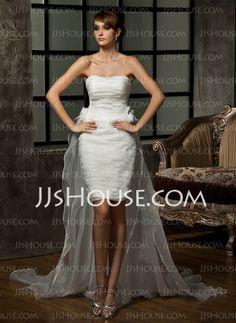 Wedding Dresses - $172.99 - Sheath/Column Sweetheart Asymmetrical Organza Wedding Dress With Ruffle Flower(s) (002011463) http://jjshouse.com/Sheath-Column-Sweetheart-Asymmetrical-Organza-Wedding-Dress-With-Ruffle-Flower-S-002011463-g11463