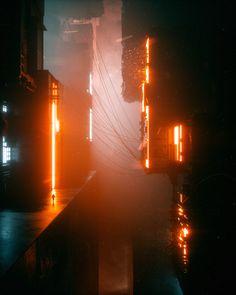 Cyberpunk Source by iwillneverbecleanagain Cyberpunk City, Ville Cyberpunk, Cyberpunk Kunst, Cyberpunk Aesthetic, Futuristic City, Futuristic Architecture, Arte Sci Fi, Sci Fi City, Graphisches Design