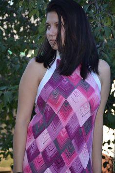 """Купить платье """"Малинка"""" - вязаное платье, летнее платье, малиновый цвет, коктельное платье"""
